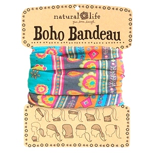 Turquoise, Gray & Orange Medallion Boho Bandeau
