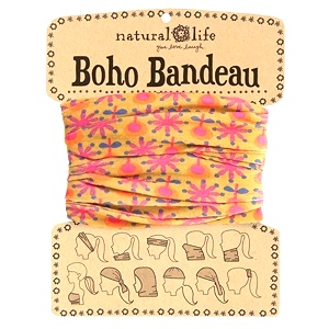 Gold with Pink Flowers Boho Bandeau | Natural Life